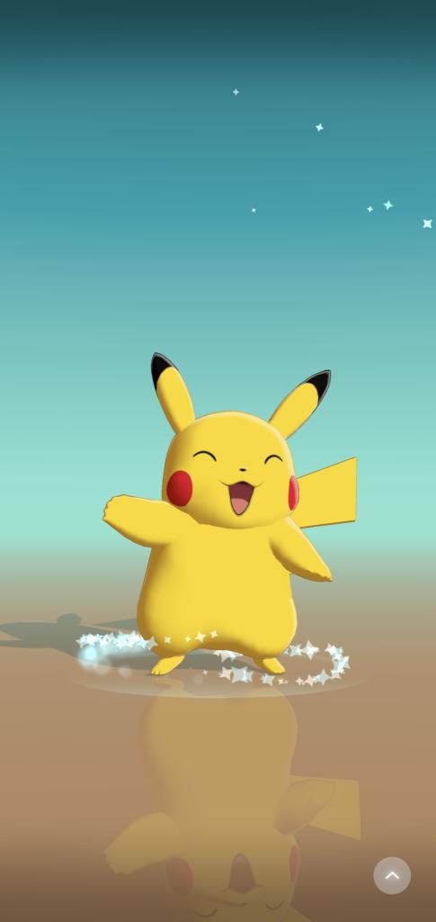 Pokemon Wave Helloアプリ。ピカチュウ登場画面。喜ぶピカチュウ。