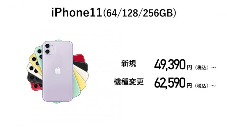 ahamo契約のiPhone11の価格。