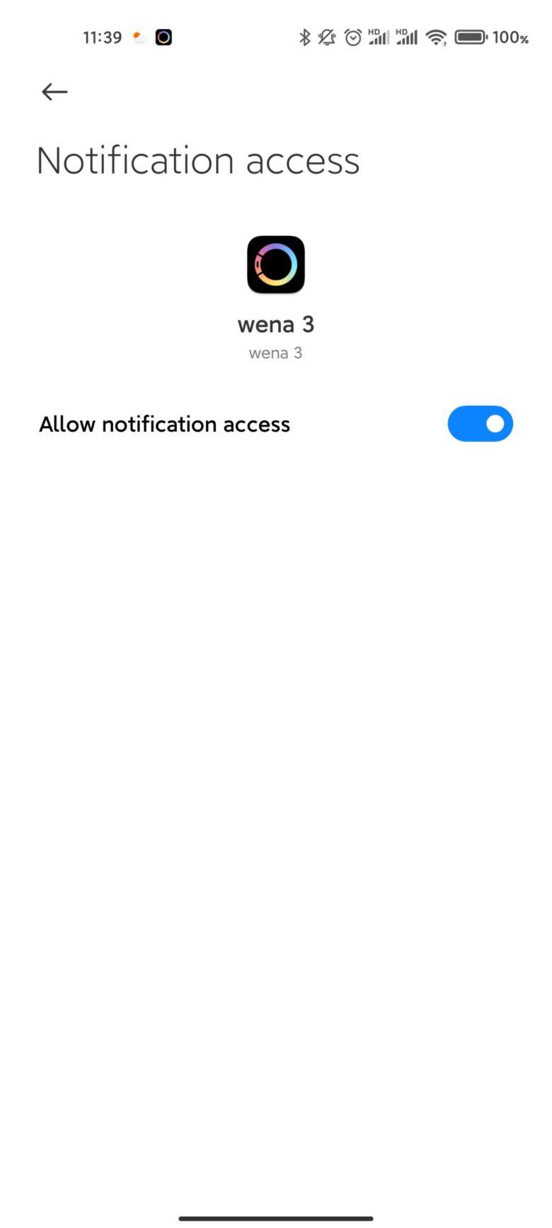 Xiaomi Mi11 Ultraの通知設定について。 Wena3の通知アクセスを有効化。