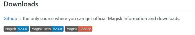 Magisk公式ページのダウンロード画面。