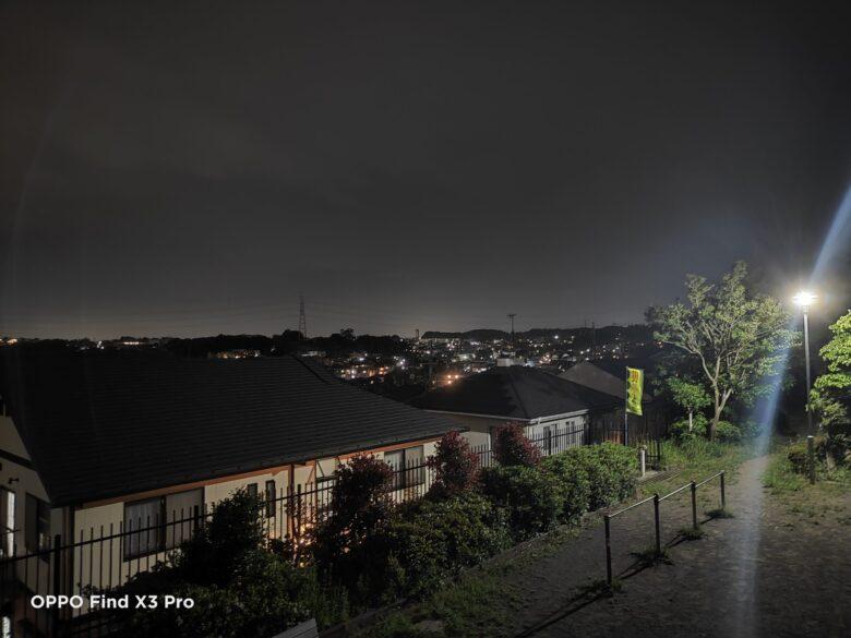 OPPO Find X3 Proの夜景モードで撮影した写真。
