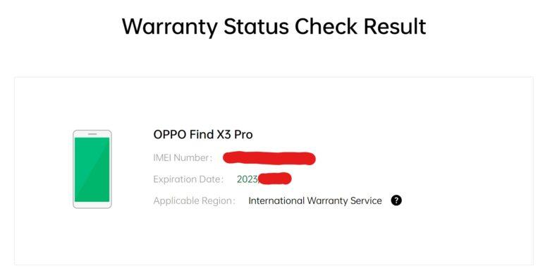 OPPO Find X3 Proのグローバル版(CPH2173)がOPPO国際保証サービス対応かどうかの公式サイト確認画面。