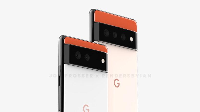 Pixel6のリーク画像。背面から。通常モデルとProモデルです。