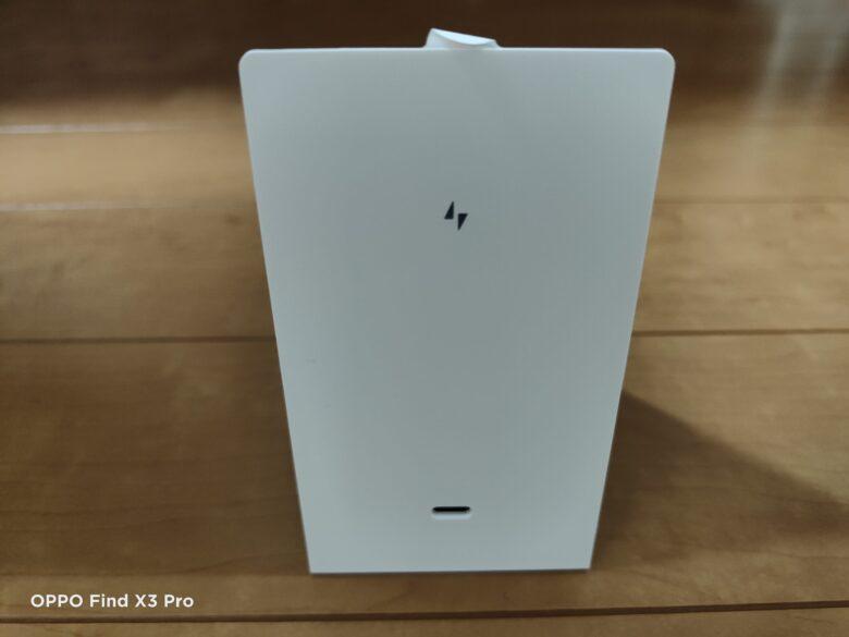 Xiaomi 80Wワイヤレス充電器の写真。背面部。