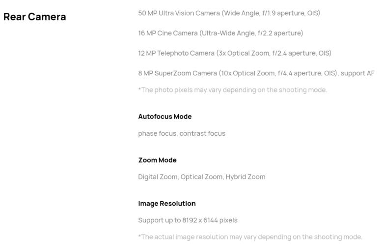 HUAWEI Mate X2のカメラ部分のスペック表です。