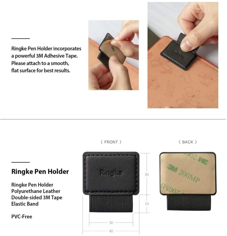 Ringleの粘着式ペンホルダーの画像。サイズ感と接着方法の説明です。